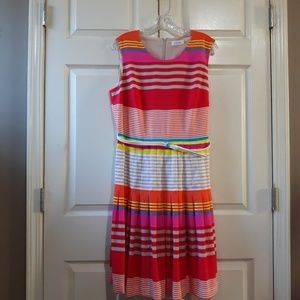 Calvin Klein | Striped multicolors belted dress 12